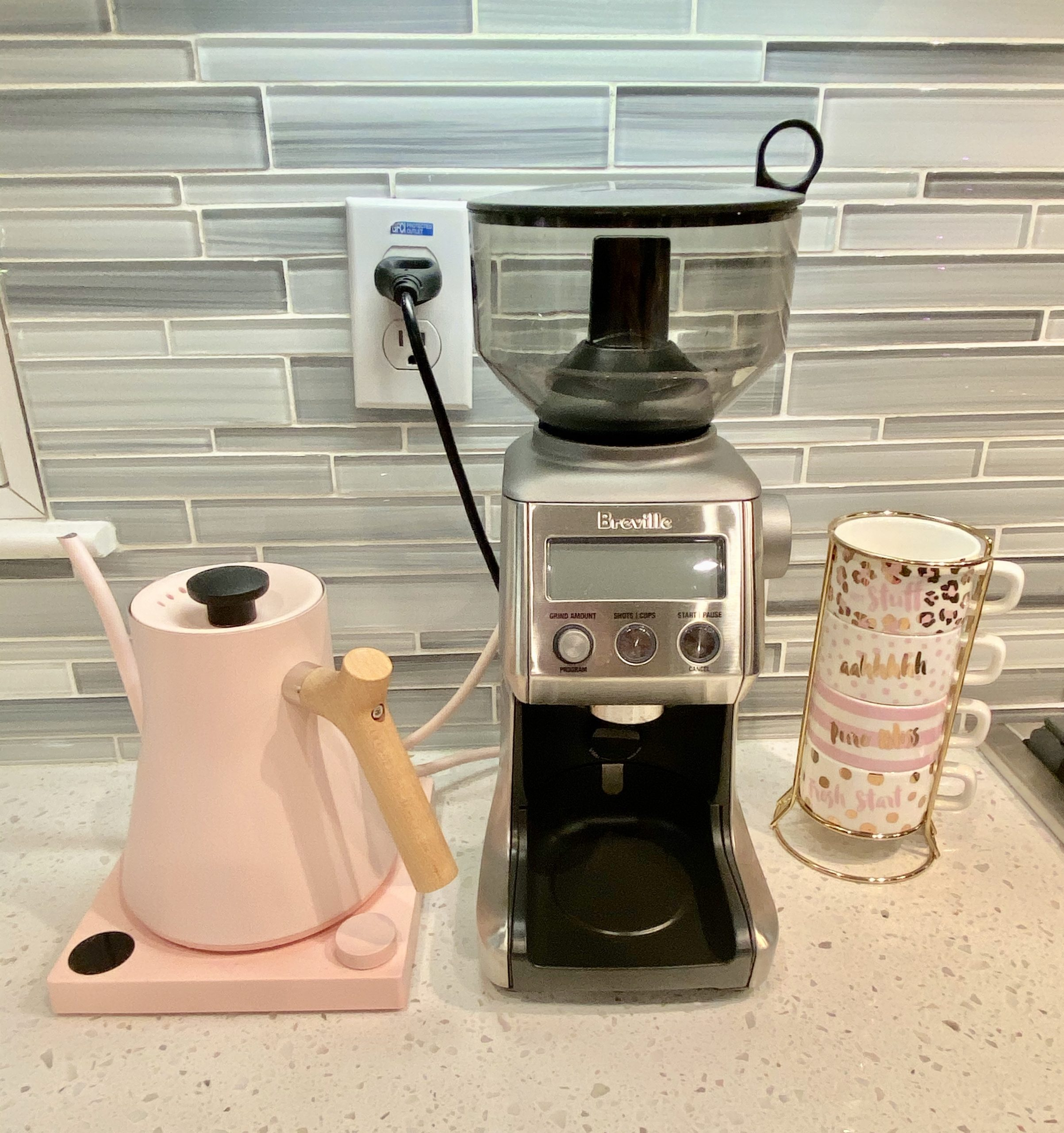 Pink Stagg kettle and Breville Coffee Grinder