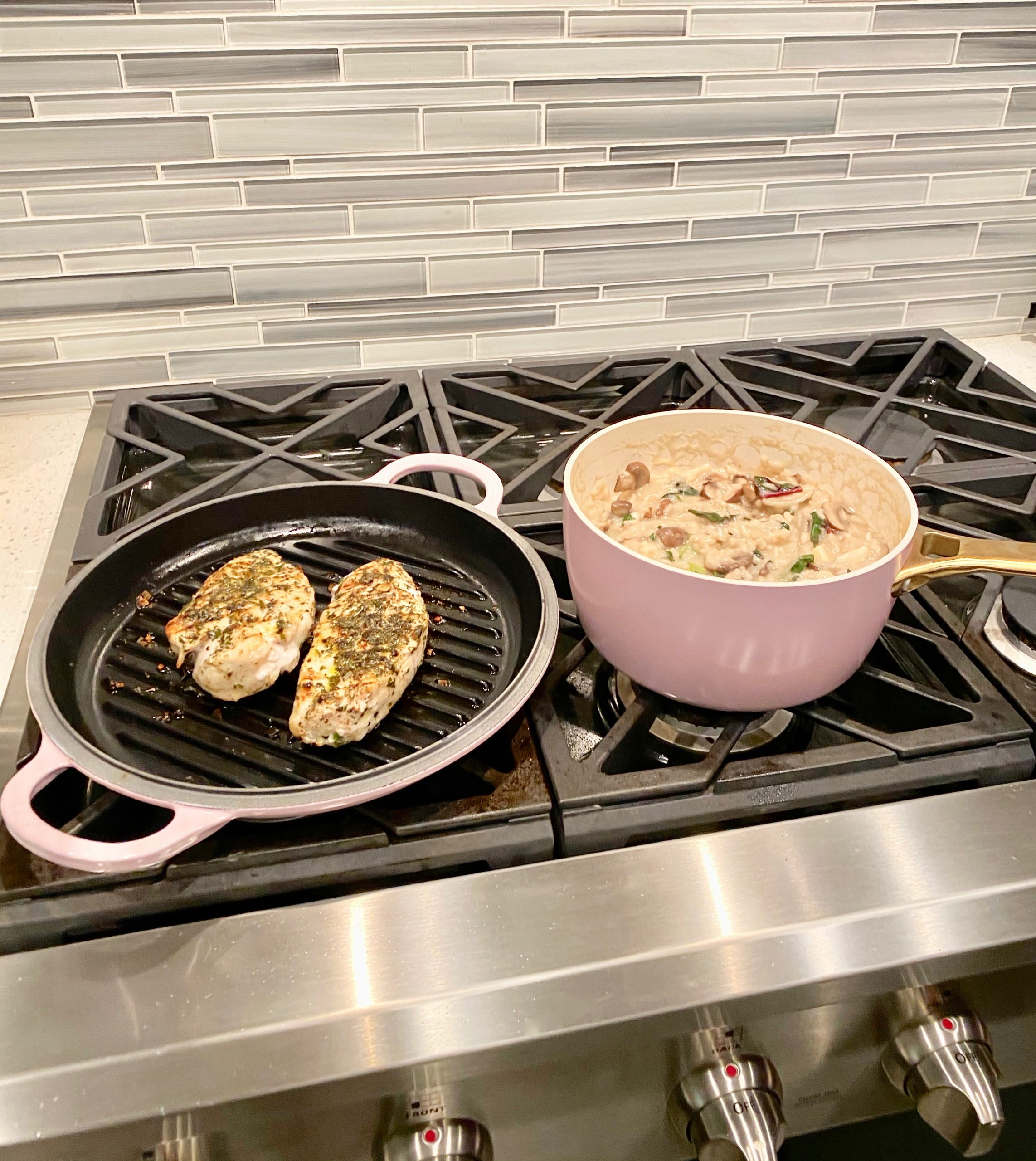 Cooking chicken risotto with my new pink GreenPan.