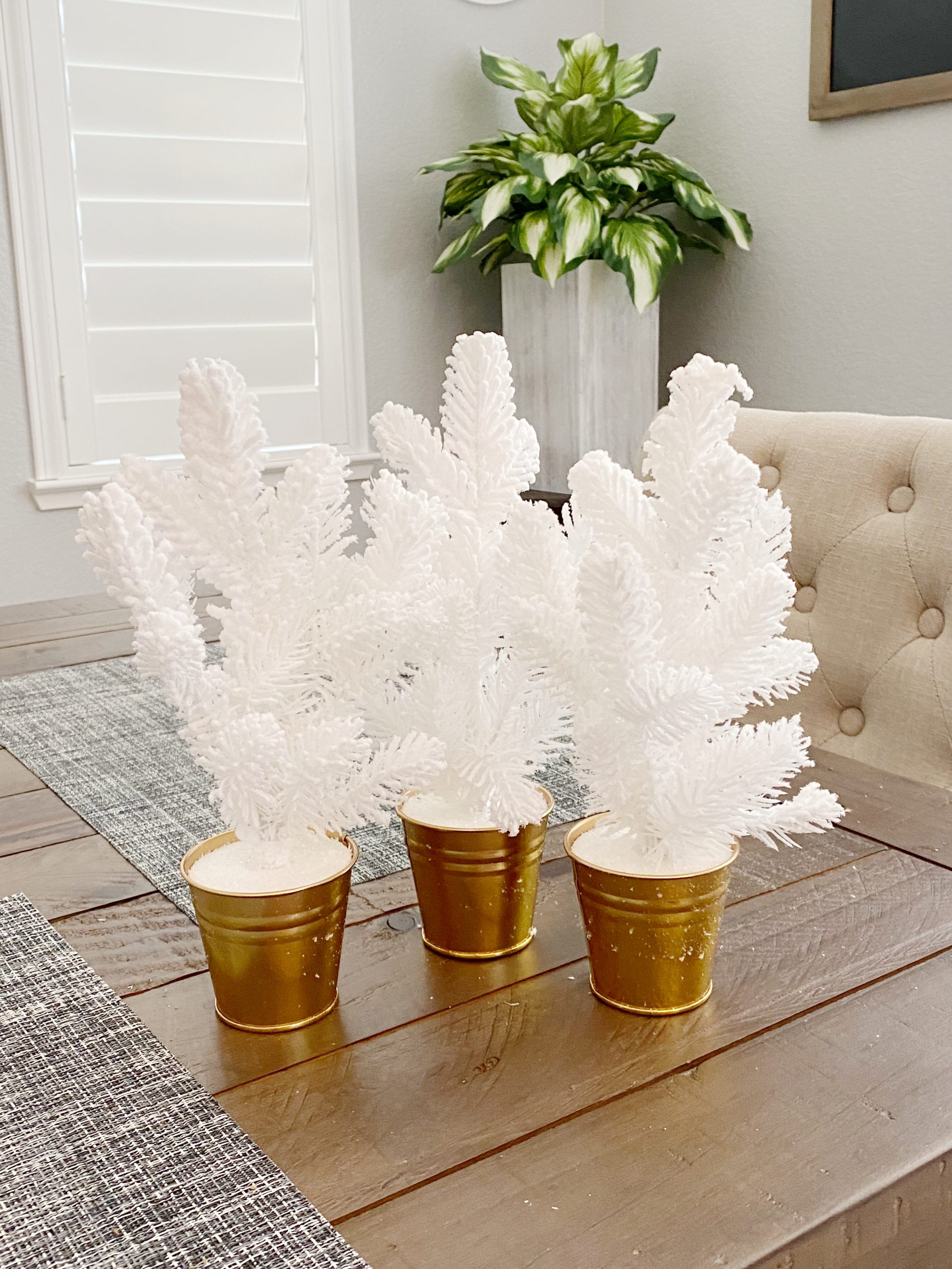 White and gold Christmas trees
